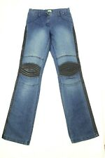 Thierry Mugler Women's Moto Jeans Leather Trim Straight Leg Size 4 Made In Italy