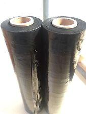 2 ROLLS 500mm x 400m 25um Shrink PALLET WRAP Wrapping Black Stretch Film 50cm