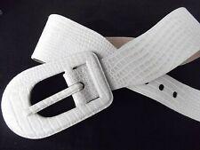 vtg Express wide faux snake skin animal ecru leather belt 6in huge buckle L Mint