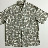 Tori Richard Men's L Green Gray Geometric 100% SILK Lawn Hawaiian Aloha Shirt