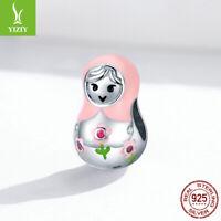 Women European 925 Silver Colorful Russian dolls Charms Bead t Fit 925 Bracelet