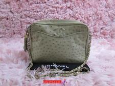 Auth CHANEL VINTAGE Light Beige Ostrich Camera Case Tassel Bag Gold HW