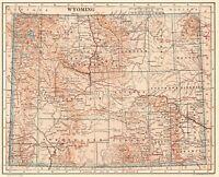 1914 Antique WYOMING State Map Antique Original MAP of Wyoming #7174