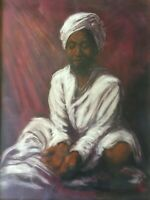 "Original Pastel Drawing India Portrait, Signed by Artist, Framed, 17 1/2"" x 24"""