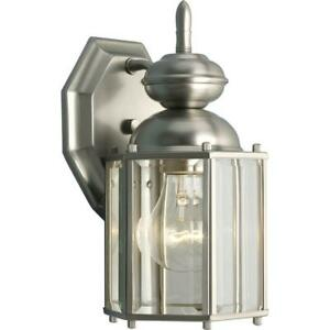 Progress Lighting BrassGUARD Lantern Collection 1-Light Brushed Nickel Clear Bev