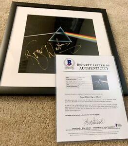 Roger Waters Signed Pink Floyd Dark Side Of The Moon Vinyl Framed Beckett LOA
