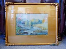 Vintage impressionist watercolour painting River Wharfe Yorkshire G O Work 1920