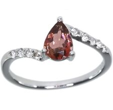 Pink Tourmaline Pear and White Topaz Gemstone Dainty Sterling Silver Ring size L