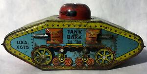 Vintage 1945 WW II Tank Bank U.S.A. X679 Tin Toy