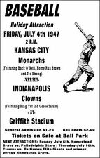 1947 KC MONARCHS INDIANAPOLIS CLOWNS 8X10 PHOTO BASEBALL POSTER PICTURE NEGRO LG