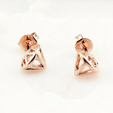 Shiny 14K/14ct Rose Gold Plated Cute Cut Out Diamond Shaped Stud Earrings Gift