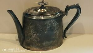 Very Old Antique Victorian Silver Plated Tea Pot - Chased Engraved Pattern