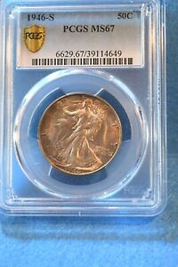 1946-S WALKING LIBERTY HALF DOLLAR PCGS CERTIFIED MS--67 SUPERIOR TONED COIN #46
