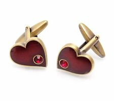 Red Crystals Heart Cufflinks Stones Cuff Links Gemelos 100 for 7 items