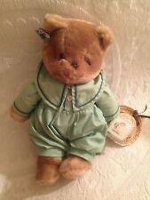 "15"" Applause Vtg 1983 Chantilly Plush Stuffed Cat Green Outfit Straw Hat"