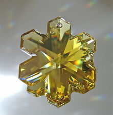 Swarovski Crystal Topaz Snowflake Prism Ornament Suncatcher, 35mm Logo, Retired