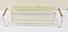 vintage 60 vinyl records Holder Gold Color Metal And Wood Handles Rare
