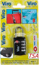 LUCCHETTO VIRO TSA 4 Combinazione Sicurezza Viaggi USA Bagagli Valigia PASSWOORD