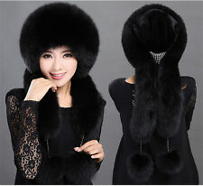 Women Real Black Fox Fur Hat Russian Winter Neck Warmer Ear Cap Ushanka Ski Hat
