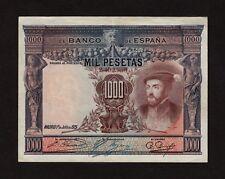 F.C. 1000 PESETAS 1925 , NUMERACIÓN BAJA , EBC- , SELLO SECO DE LA REPÚBLICA .