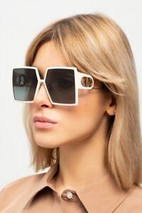 Christian Dior 30Montaigne SZJ/1L Ivory Gold Grey Lens Women Sunglasses Oversize