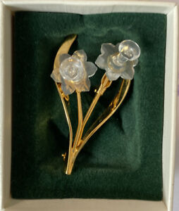 "Swarovski gold plated ""Crystal Memories"" Daffodil Flower Pin Brooch with box"