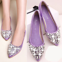 Womens Rhinestone Crystal Pointy Sequin Bling Flat Casual Work Pumps Court Shoes