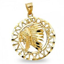 Indian Head Pendant Solid 14k Yellow Gold Native American Chief Medal Charm