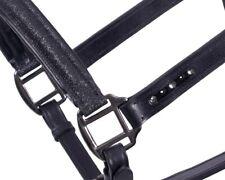 Leder Halfter QHP Shimmer schwarz Glitzer Strass schwarze Metallteile VB WB