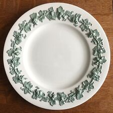 "Dinner Plate s 10 5/8"" WEDGWOOD CELADON Green on CREAM Queen's Ware Plain 1950s"