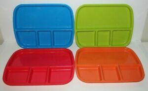 Vintage Meal Trays Multi Color with 4 Sections - Lot of 4 Plastic Meal Trays