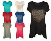 Womens Plus Size Heart Stud Hanky Hem Ladies Short Sleeve Long Top 14 - 28