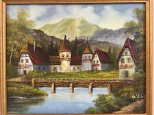 Original Signed Oil Acrylic Painting Swiss Country Chalet Artist Wess or Weiss