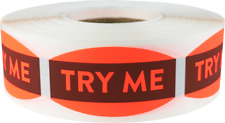 Try Me Grocery Market Stickers, 0.75 x 1.375 Inches, 500 Labels on a Roll