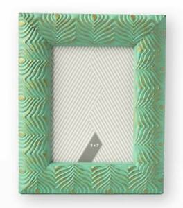 Photo Frame Peacock Feather Design In Verdigris Green With Gold Highlights 5x7