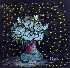 """MARIA MURGIA """"Fiori"""" mista su cartoncino nero cm 32x30,5   ASTA OCCASIONE ESTATE"""
