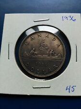 1936 Canadian Silver Dollar ($1), Free Shipping!