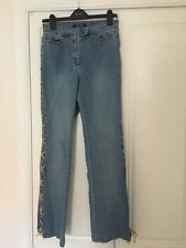 Betty Barclay Denim & Suede Lace Tie Jeans - Size 12