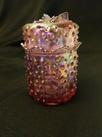 Vintage iridescent Fenton Pink Carnival Glass Hobnail Candy Jar Butterfly Lid