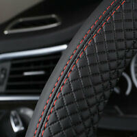 Black 38cm Car Steering Wheel Cover Leather Universal Anti-Slip Sport styling