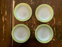Vintage Pyrex Lime Green With Gold Trim 6.75 Inch Dessert Plate Set Of 4 V