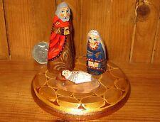 Único Pintado A Mano Pequeña Natividad Navidad Niño Jesus María José Regalo Firmado