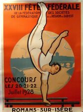 "Vintage 1928 French ""Federation of Gymnastics"" on Linen"