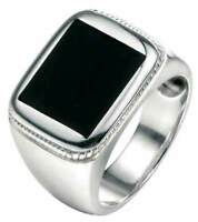 Fred Bennett 925 Polished Sterling Silver Wide Band Black Agate Signet Ring [Y]