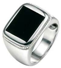 Fred Bennett 925 Sterling Silver Men's Wide Band Black Agate Signet Ring