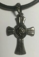 NEW DARK SIDE GENUINE LEATHER CROSS NICE CLAW CLASP PENDANT NECKLACE