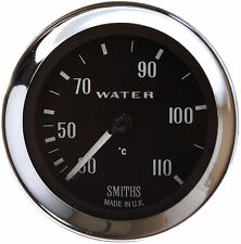 Smiths 30-110˚C Mechanical Water Temp Gauge 52mm, Black face, Chrome Bezel 120""
