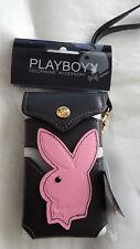 Playboy Pequeña Bolsa De Cuero Teléfono Móvil-Negro Rosa Diseño De Cabeza De Conejo