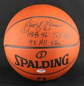 George Gervin SIGNED Official NBA Basketball +HOF INSC Spurs PSA/DNA AUTOGRAPHED