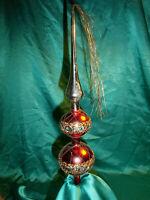 ~ alte große Christbaumspitze Glas rot silber gold Draht Borte Tinsel Tannenbaum